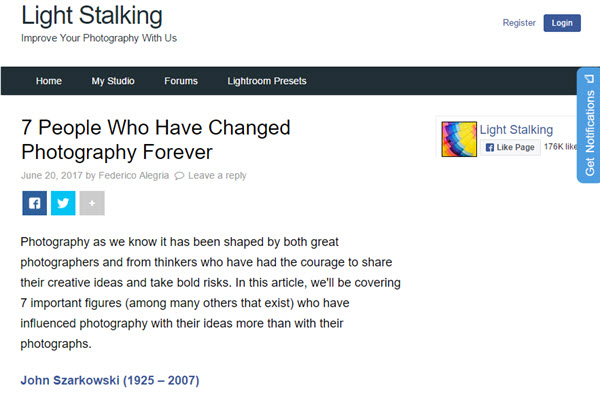 Screenshot of influential photographers article at Light Stalking