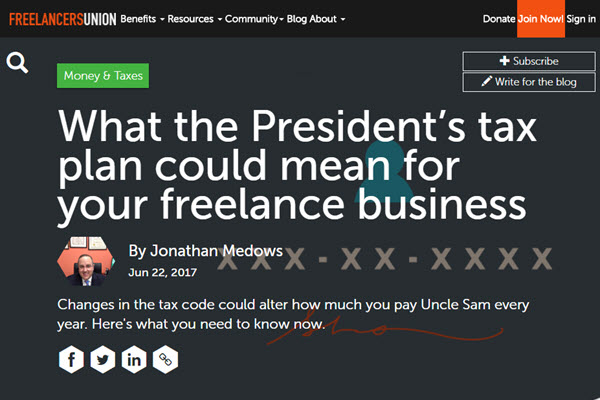 Screenshot of Tax PLan article on Freelancers Union Blog