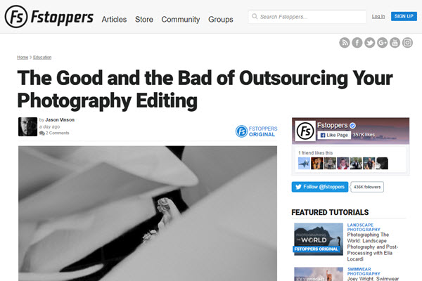 Screenshot of Outsourcing article on Fstoppers.com