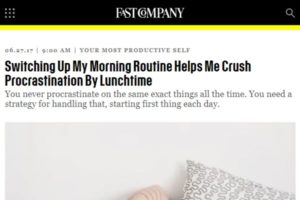 Screenshot of morning routine article at Fast Company