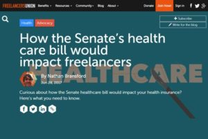 Screenshot of article on health care bill on Freelancers Union Blog