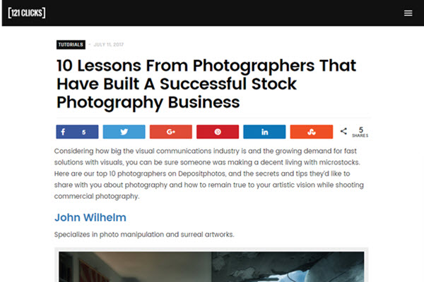 screenshot of stock photography article posted on 121 Clicks