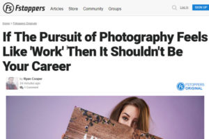 screenshot of photography career article at Fstoppers
