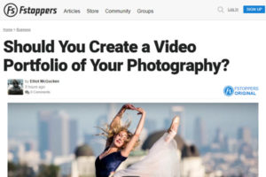 screenshot of photography portfolio video article at Fstoppers