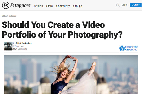 screenshot of video portfolio article at Fstoppers