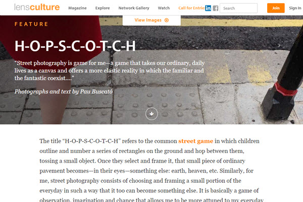 Screenshot of article on street photography posted on LensCulture