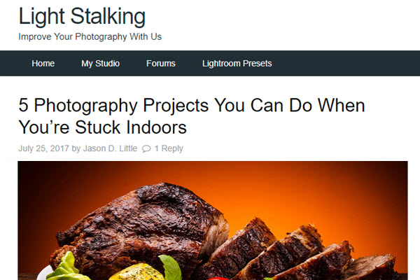 Screenshot of indoor photography projects posted at Light Stalking