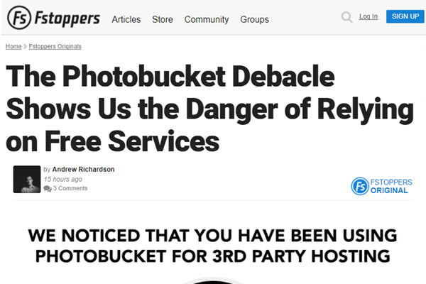 Screenshot of Photobycket article posted at Fstoppers