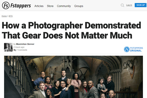 Screenshot of How a Photographer Demonstrated That Gear Does Not Matter Much article at Fstoppers