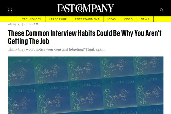 Screenshot of These Common Interview Habits Could Be Why You Aren't Getting The Job article posted on Fast Company