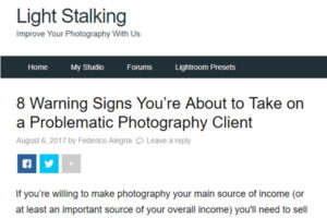 Screenshot of client warning signs article posted at Light Stalking