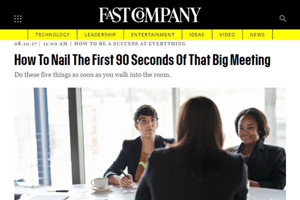 Screenshot of advice on big meetings posted at FastCompany