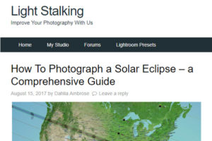 Screenshot of How To Photograph a Solar Eclipse article posted at Light Stalking