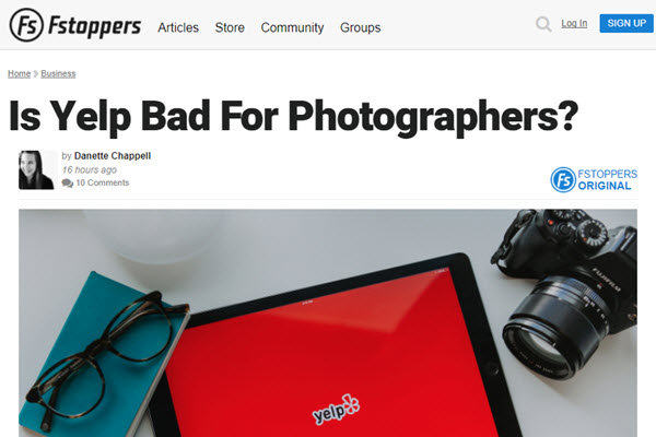 Screenshot of Yelp article posted on Fstoppers