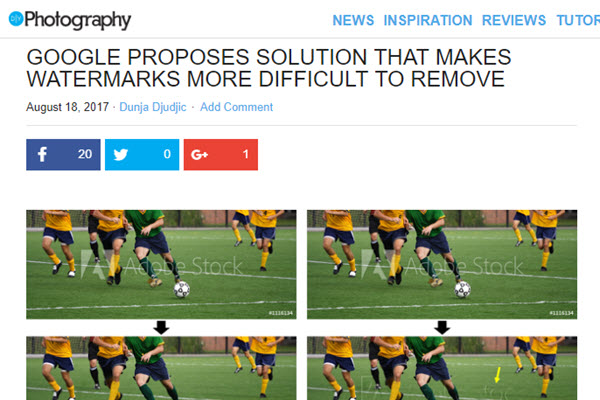 Screenshot of Google Proposes Solution That Makes Watermarks More Difficult to Remove article on DIYPhotography