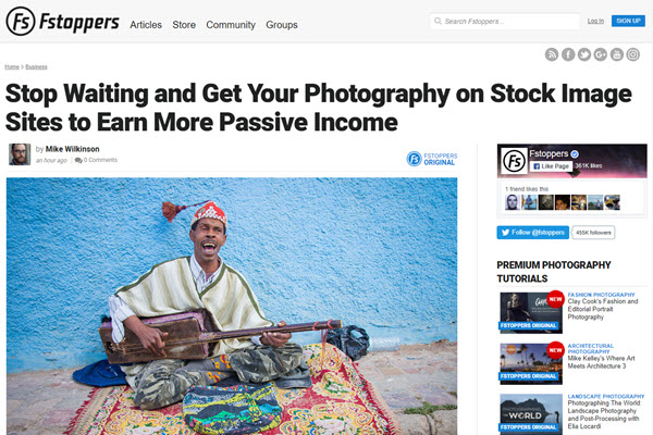 screenshot of selling your photos to stock photogary article on Fstoppers
