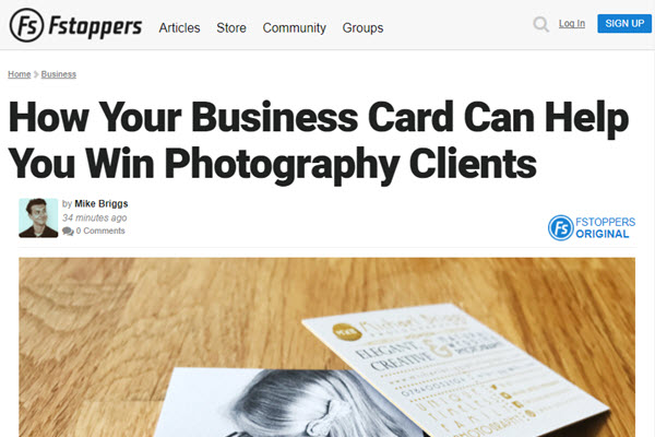 Scrfeenshot of How Your Business Card Can Help You Win Photography Clients article posted on Fstoppers