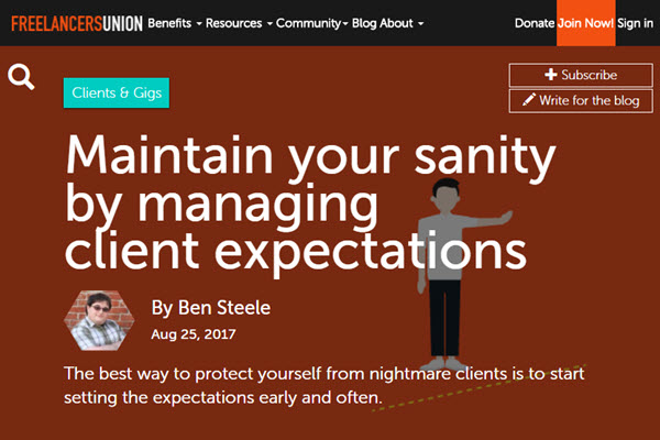 Screenshot of Managing Client Expectation article posted at Freelancers Union