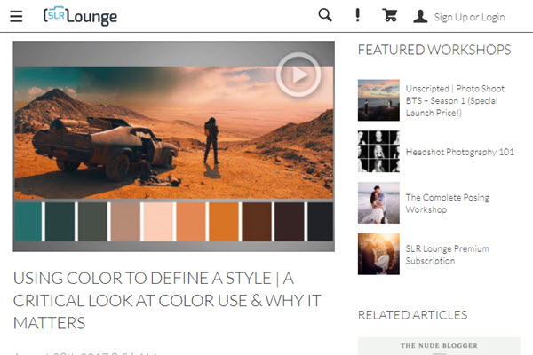 Screenshot of Finding Your Own Style article posted at SLR Lounge
