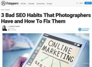Screenshot of SEO article posted at Fstoppers
