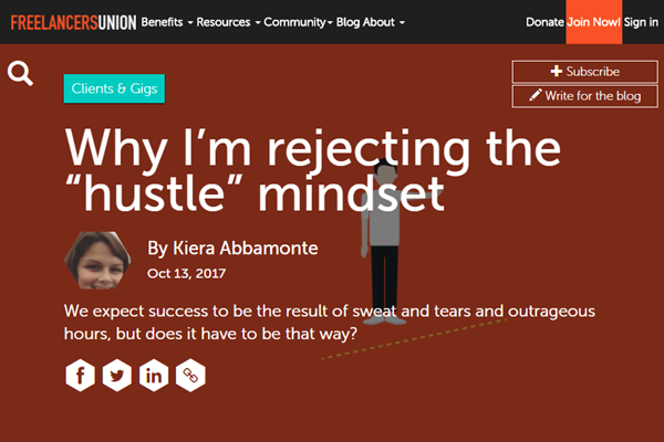 Screenshot of hustle article posted at Freelancers Union Blog