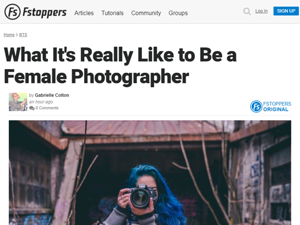 Screenshot of article by Gabi Colton posted at Fstoppers.