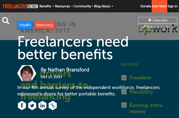 Screenshot of health benefits story posted on Freelancers Union Blog
