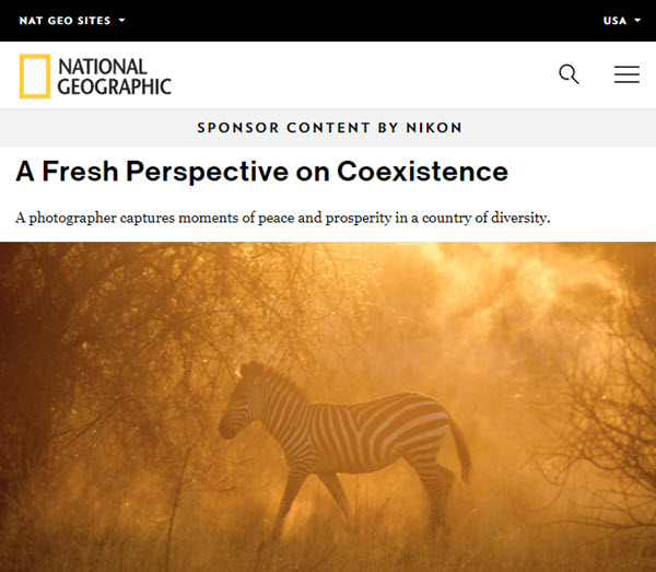 Screenshot of feature story on Ami Vitale on National Geographic
