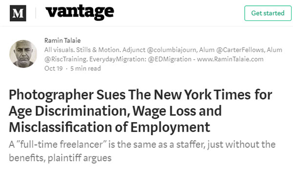 Screenshot of article about photographer's lawsuit againt NYT on Vantage