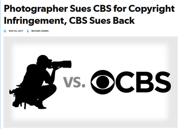Screenshot of copyright infringement article posted on PetaPixel