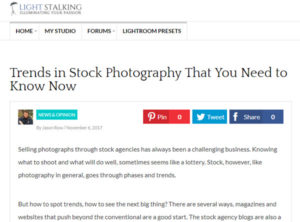 screenshot of stock im age trends article by jason row posted on light stalking