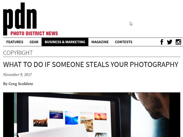 Screenshot of copyright article posted on PDN