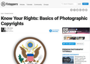 Screebshot of copyright article posted on Fstoppers
