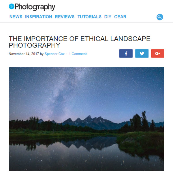 SCreenshot of eithical landscape photograpy article posted on DIYPhotography