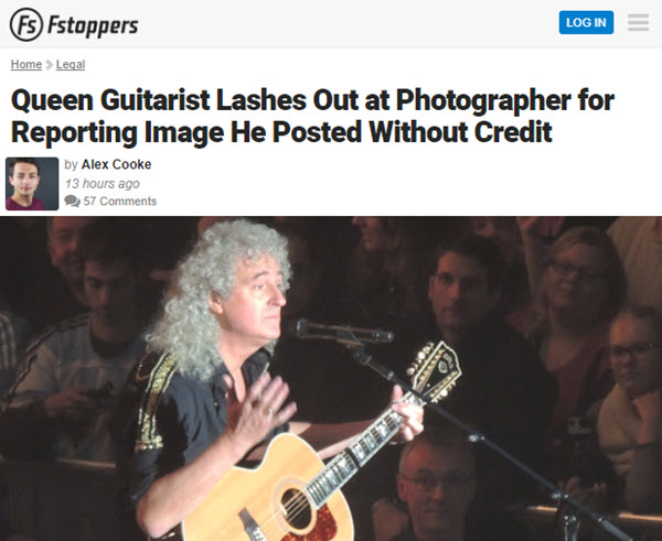 Screenshot of article about queen guitarist posted at Fstoppers