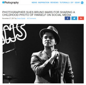 screenshot of article on Bruno Mars posted on DIYPhotography.net