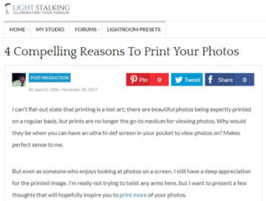 Screenshot of artilce on printing your photos posted on Light Stalking