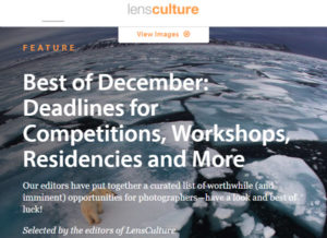Screenshot of Best of December article posted at LensCulture