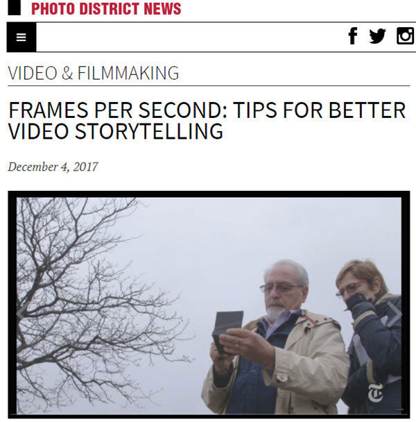 Screenshot of video editing article posted at PDN Online