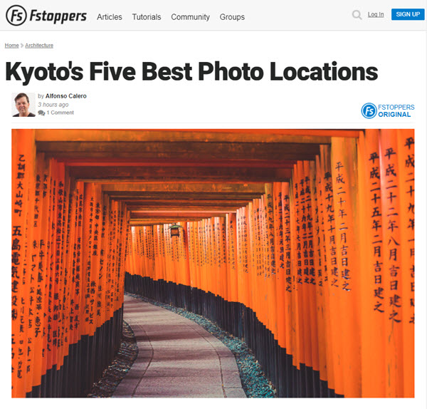Screenshot of Kyoto photo spots from an article on Fstoppers