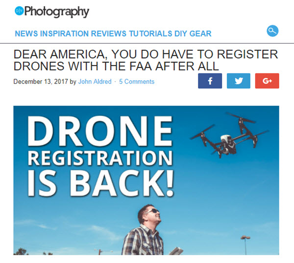 screenshot of drone registration article posted on DIYPhotography.net