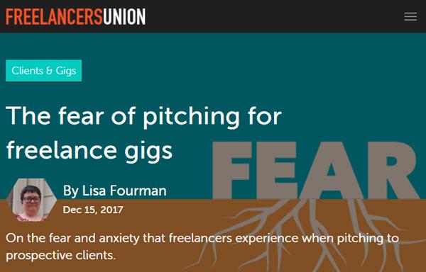 Screenshot of pitching freelance gigs article potsed on Freelancers Union Blog