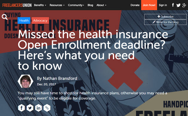 Screenshot of article on health insurance open enrollment posted on Freelancers Union Blog