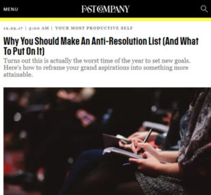 Screenshot of anti-resolution lst posted on Fast Company
