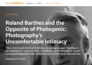 Screenshot of article on Roland Barthes posted at LensCulture