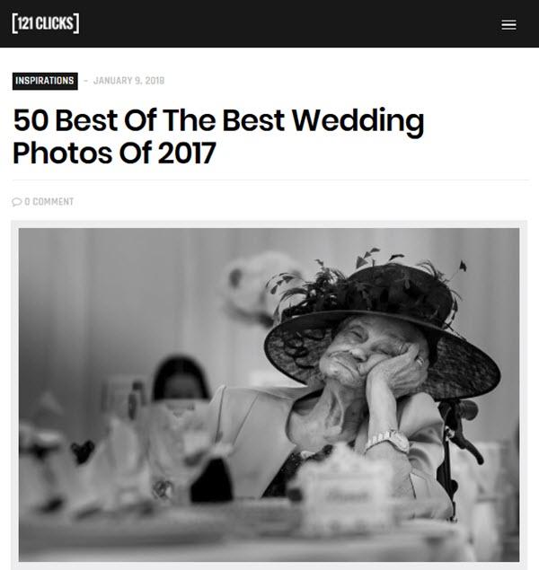 screenshot of 50 best wedding photos posted on 121 Clicks