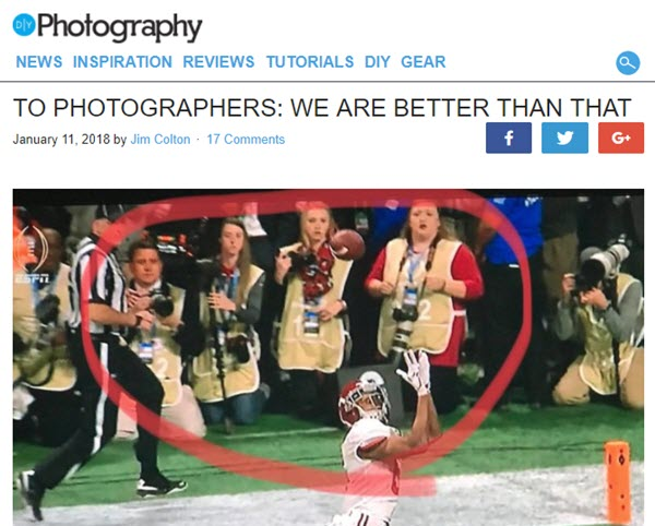 screenshot of article posted at DIYPhotography.net