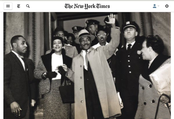 Screenshot of article on Martin Luther Kings Jr posted at Lens Blog