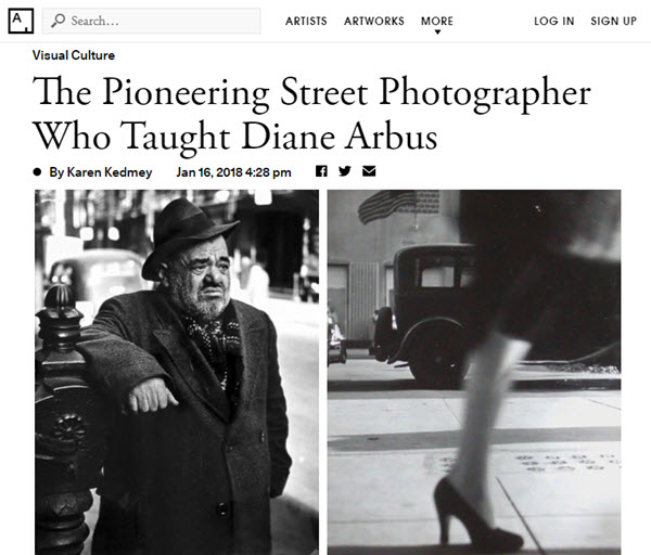 Screenshot of article on Kisette Model posted on Artsy