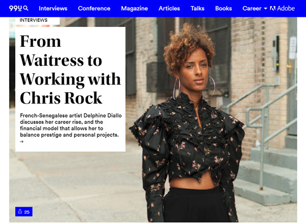 Screenshot of interview with Delphine Diallo posted at 99U.com